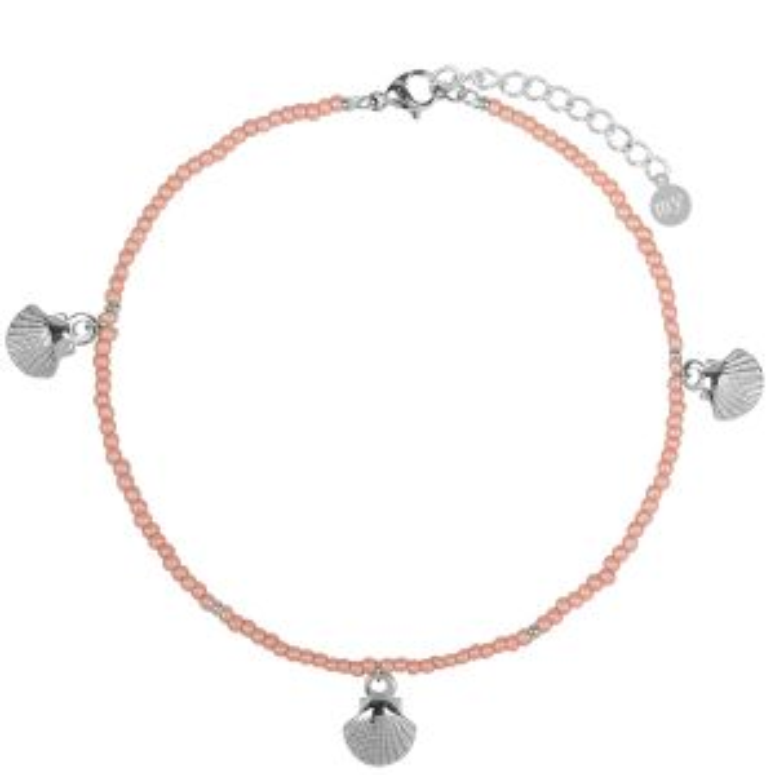 Roze enkelbandje schelpjes, schelpen sieraden My Jewellery