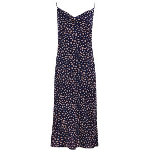 Donkerblauwe slipdress cheetah-XS