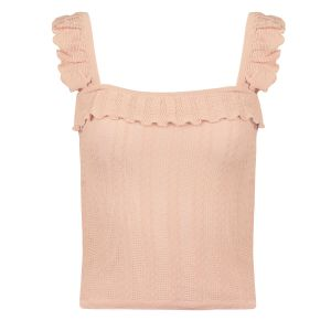 Lichtroze top met ruffles, ruffle top My Jewellery