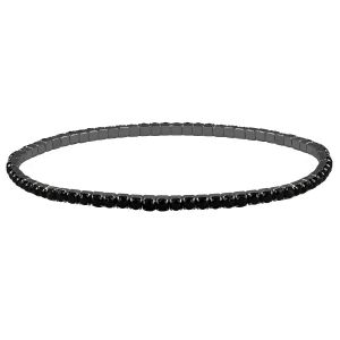 Zwart stalen armband strass steentjes-Zwart