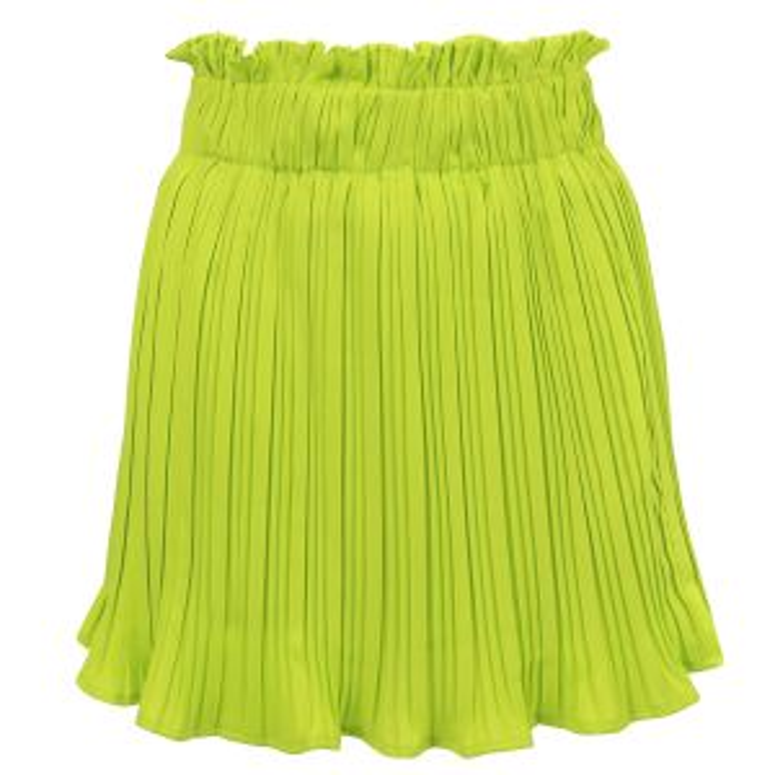 Lime groene korte plissé rok-XS