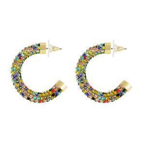 Multikleur oorringen met strass steentjes, statement oorbellen My Jewellery