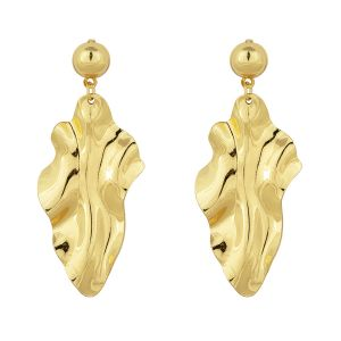 Gouden oorhangers golvend, golvende oorhangers My Jewellery