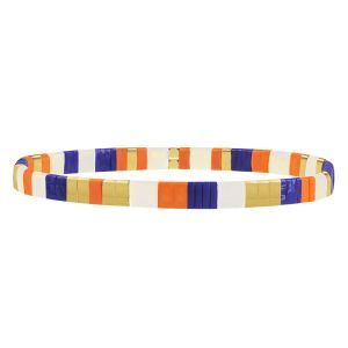 Blauwe armband met platte kralen My Jewellery