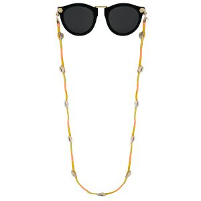 Goud zonnebrilkoord touw & schelp