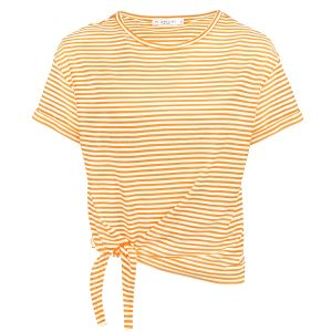 Oranje gestreept shirt met knoop, t-shirt My Jewellery