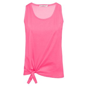 Roze neon top met knoop, tanktop My Jewellery