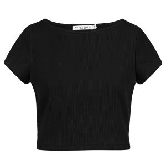 Zwart cropped shirt ribstof, korte top My Jewellery