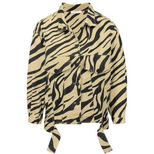 Beige oversized spijkerjas zebraprint, denim jacket my jewellery