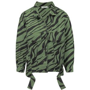 Groene oversized spijkerjas zebraprint, denim jacket my jewellery