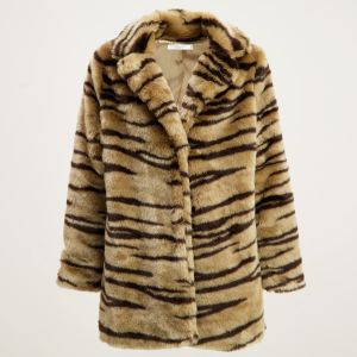 Beige fake fur jas zebra, faux fur jas