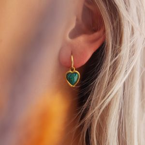 One piece oorring Malachite