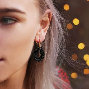 Black Crystal Beads Hoops