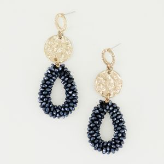 Oorhangers circkel & donkerblauw kristal, kristal oorbellen