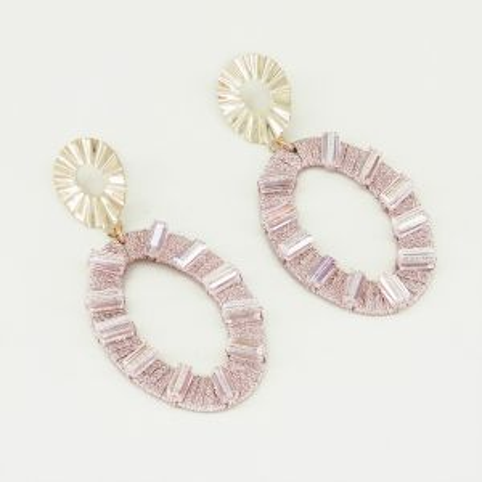 Oorhangers ovaal & roze steentjes, statement oorhangers