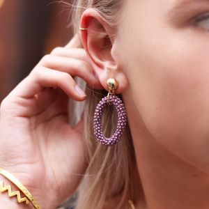 Classy Bead Earrings - Purple