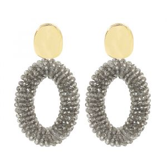 Donkergrijze oorhangers kristal My Jewellery