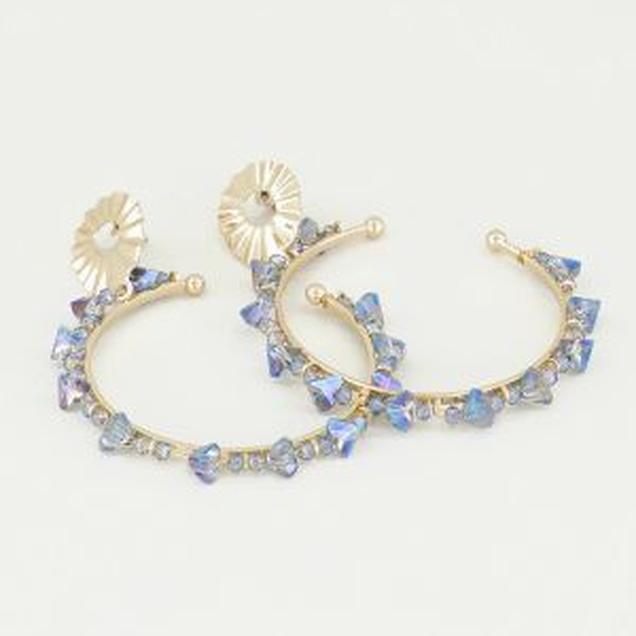 Oorhangers blauwe steentjes, strass oorbellen