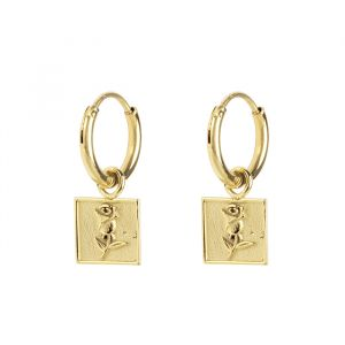 Oorbel Bedel Roos Vierkant, oorring My Jewellery