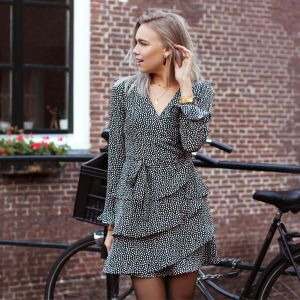 Black Longsleeve Dotted Layer Dress