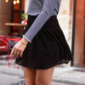 Mesh Leopard Skirt - Black
