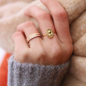 Peach & goud kleurige basic ring