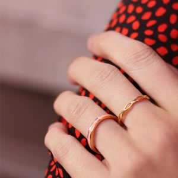 Licht roze & goud basic ring