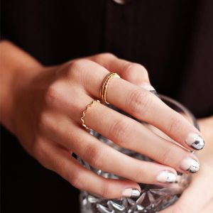 Gold Dotted Ring & Stones