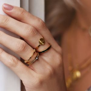 Zwart & goud basic ring