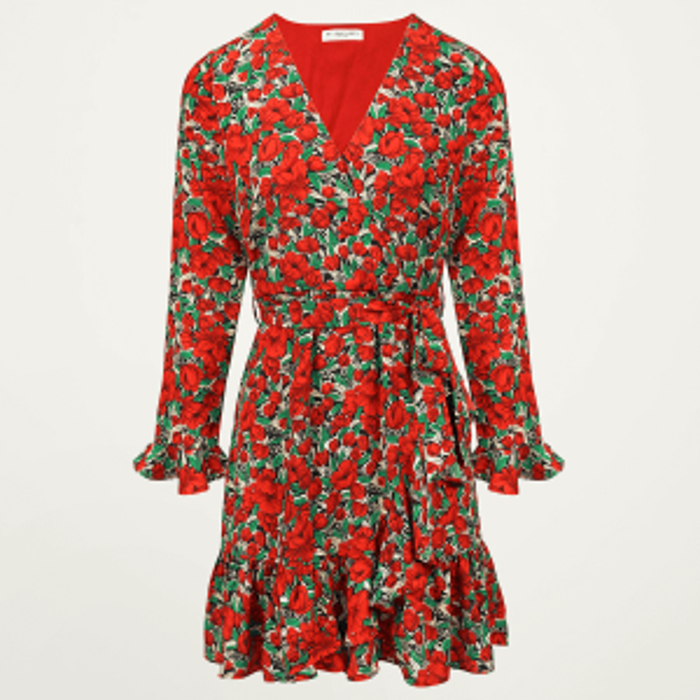 rode jurk bloemen ruffles, bloemen jurkje