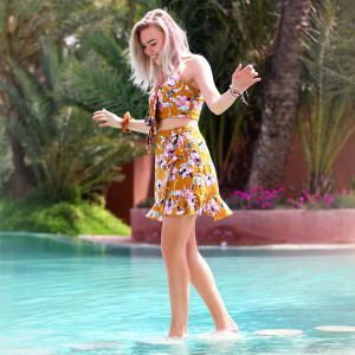 Gele rok met bloemenprint