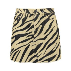 Beige spijkerrok zebraprint, denim rok my jewellery