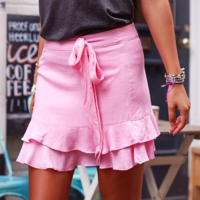 Roze rok met laagjes