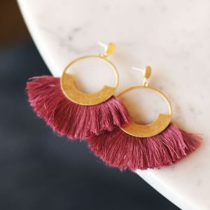 Pink Tassel Hoops Gold