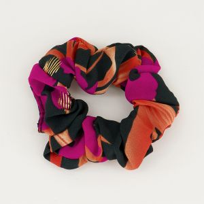 Scrunchie paars oranje bloemen, haarelastiek
