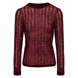Burgundy Leopard Lace Top-XS