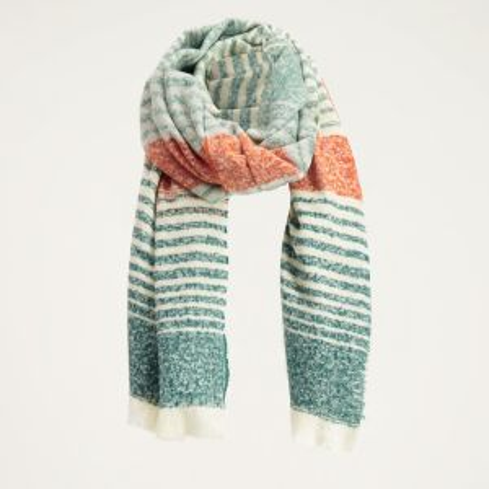 Sjaal groen met oranje gestreept, groene sjaal