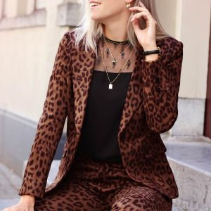 Suedine Leopard Blazer - Rust Brown