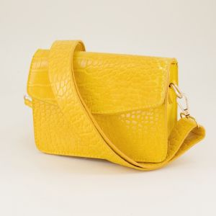 Gele schoudertas slangenprint brede strap, slangenprint tas