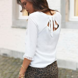 White Open Back Sleeve Top