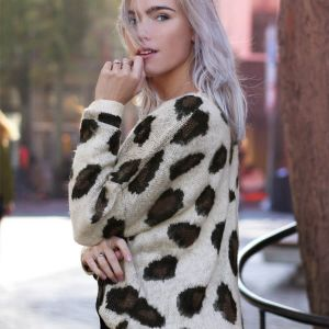 Beige Sweater Leopard