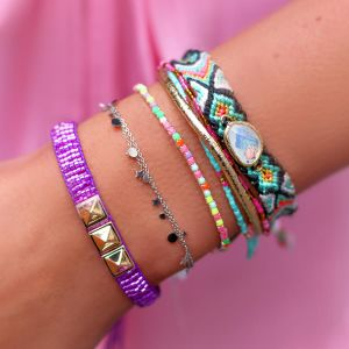 Turquoise armband touw & kraaltjes