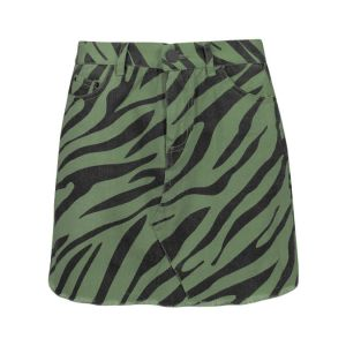 Groene spijkerrok zebraprint, denim rok my jewellery