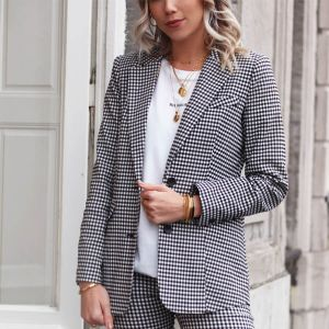 Zwart-Wit Geruite Blazer