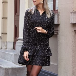 Black Dotted Wave Dress