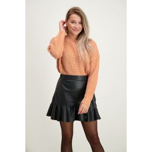 Rok met ruffles leatherlook