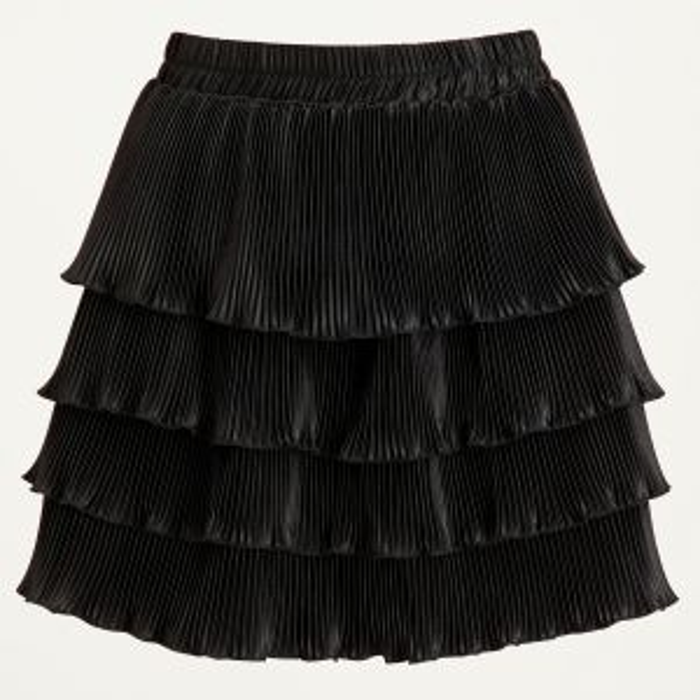 Geplooide lagen rok, zwarte rok