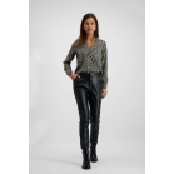 Grijze overslag blouse luipaard, blouse met print - styleshoots afbeelding - voorzijde
