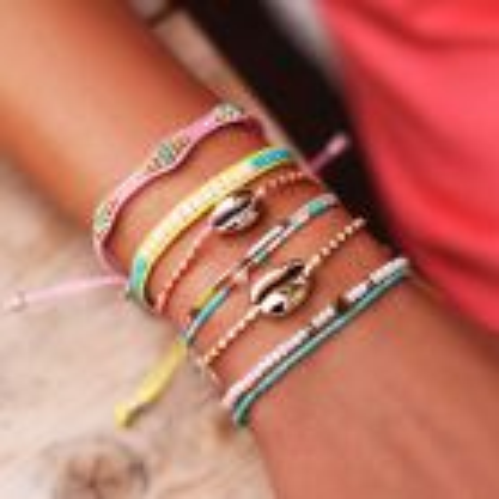 Roze armband kralen & ruitjes
