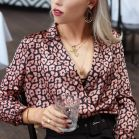 Satin Leopard Wrap Blouse